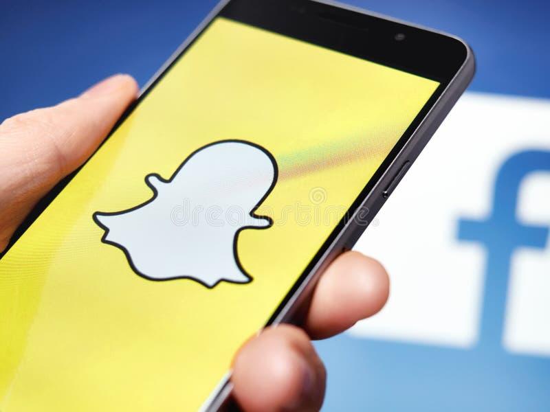 Snapchat e Facebook imagens de stock