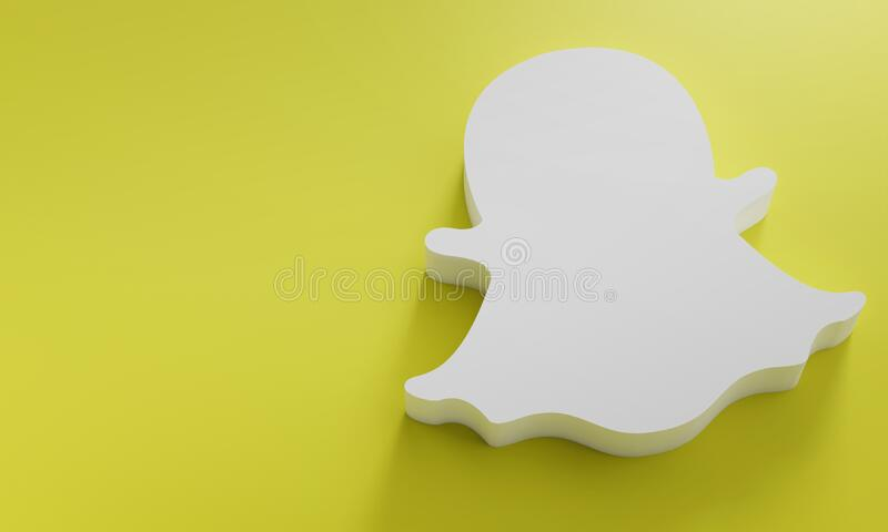 Snapchat Logo Minimal Simple Design Template. Copy Space 3D royalty free stock photos