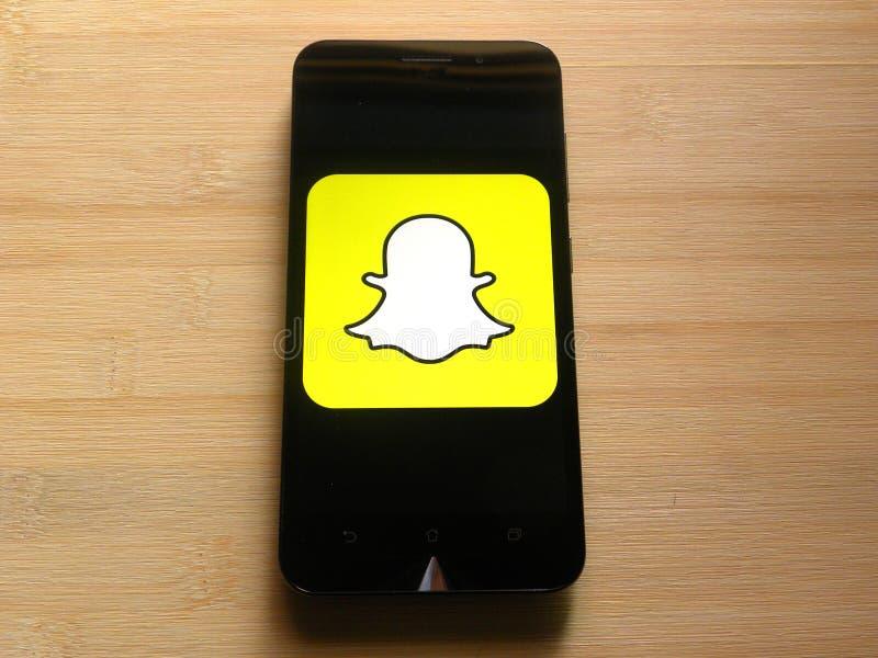 Snapchat op smartphone royalty-vrije stock fotografie