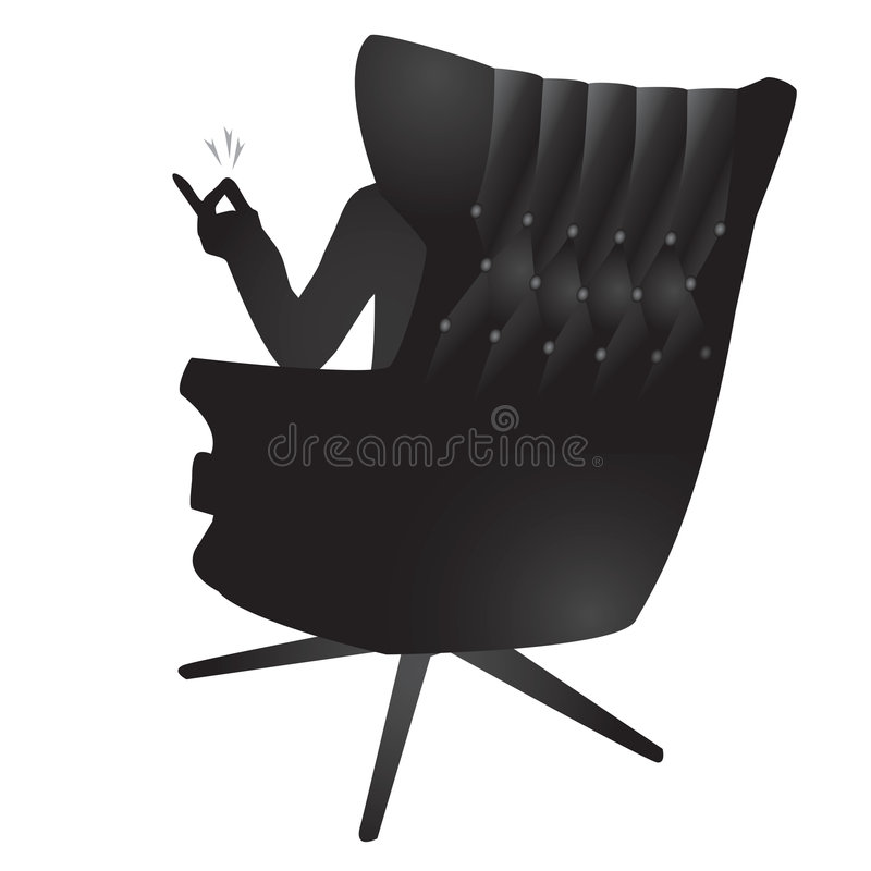 Snapping fingers man. Silhouette illustration of a man sitting in an executive chair snapping his fingers stock illustration