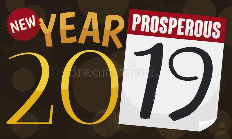 Greetings in a Loose-leaf Calendar forming the 2019 Date, Vector Illustration. Snappy sign with number 20 and loose-leaf calendar with number 19, all together stock illustration