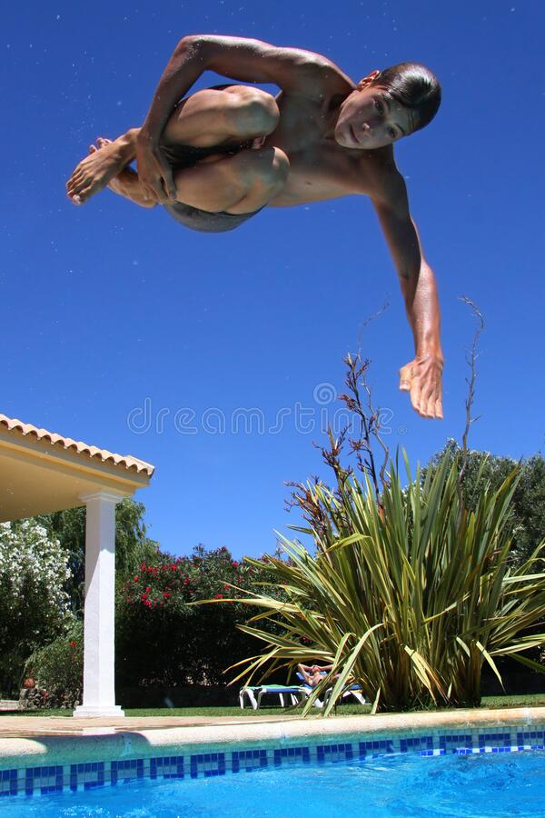 Free Snapshot Pool Jumper Royalty Free Stock Photography - 217556937