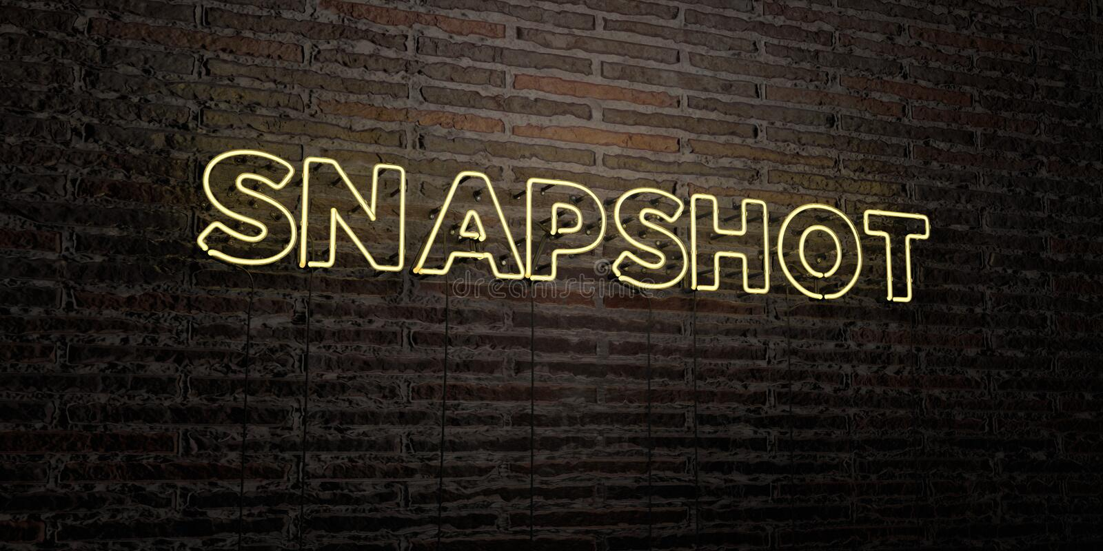 SNAPSHOT -Realistic Neon Sign on Brick Wall background - 3D rendered royalty free stock image stock illustration
