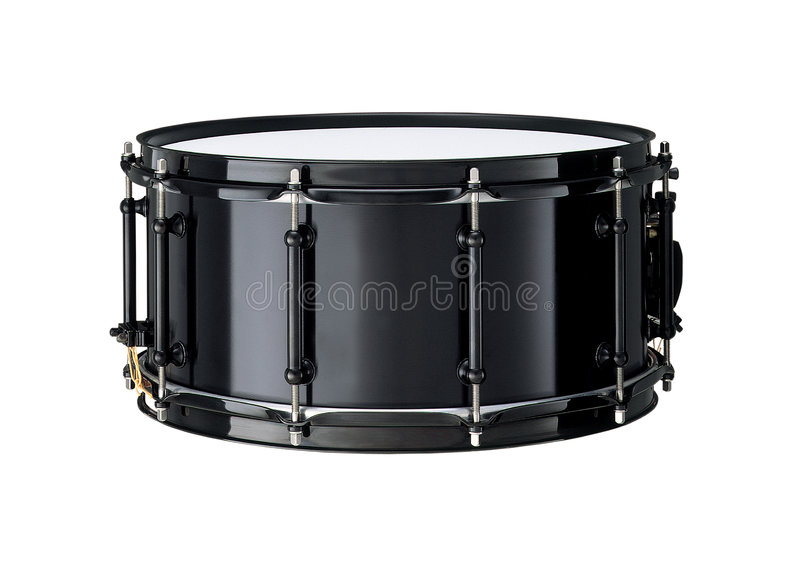 Drums. Black Drums isolated over white. Snare Drum, horizontal royalty free stock images