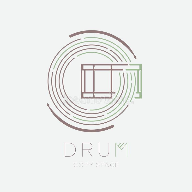 Snare drum, drumstick with line staff circle shape logo icon outline stroke set dash line design illustration isolated on grey. Background with drum text and stock illustration