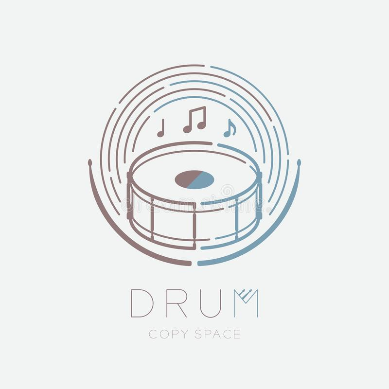 Snare drum, drumstick, music note with line staff circle shape logo icon outline stroke set dash line design illustration isolated. On grey background with drum vector illustration