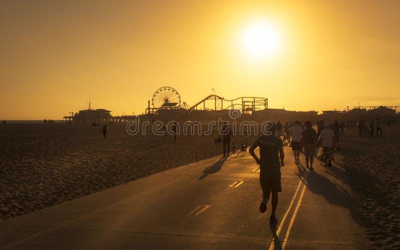 Snata Monica molo, Pacyfik park, plaża, Snata Monica, Los Angeles, Kalifornia, Stany Zjednoczone Ameryka, Północna Ameryka obraz royalty free