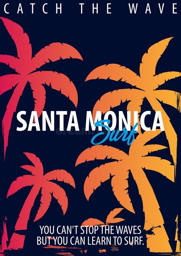 Snata Monica surfingu grafika z palmami Koszulka druk i projekt ilustracji