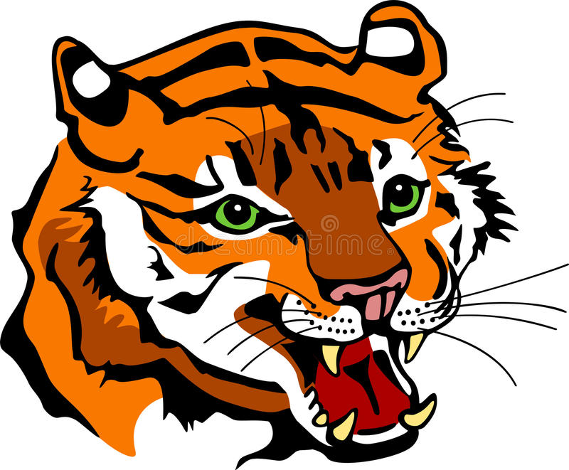 Snauwend Tiger Head vector illustratie