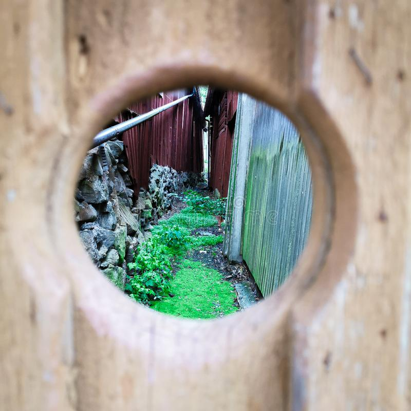 A sneak peek through the hole in the fence stock photo