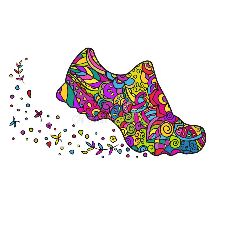 Sneaker. Hand drawing. Vector colorful doodling isolated . royalty free stock photography