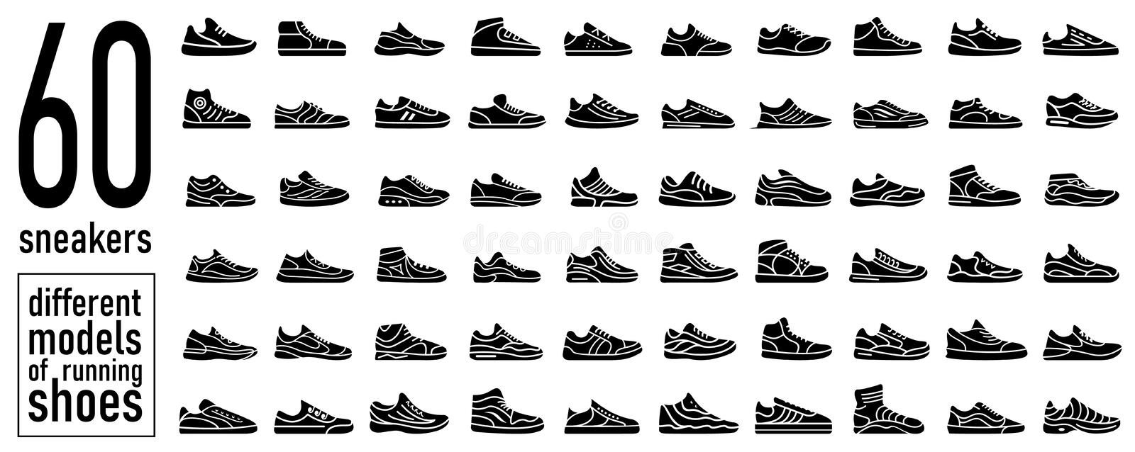 60 sneaker running shoes icons set. Simple style stock photo