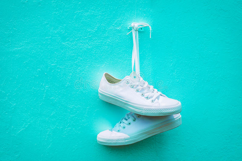 Sneakers against the wall royalty free stock photos