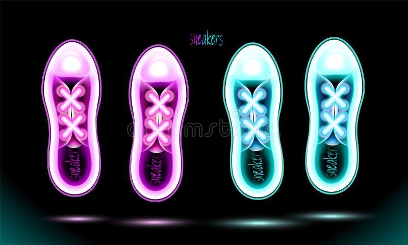 Sneakers błękitna i różowa neonowa but ikona, rozjarzona lampa, odizolowywający szyldowy projekt na czarnym tle Fluorescencyjny w ilustracja wektor