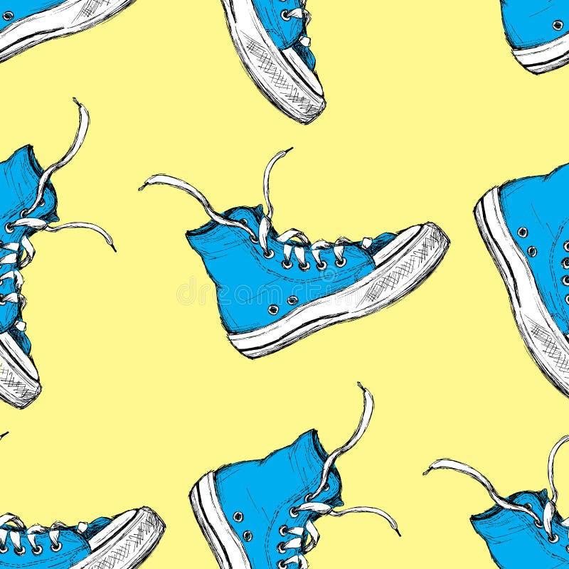 Sneakers bezszwowy wzór, royalty ilustracja