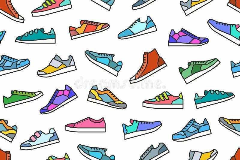 Sneakers bezszwowy wzór ilustracja wektor