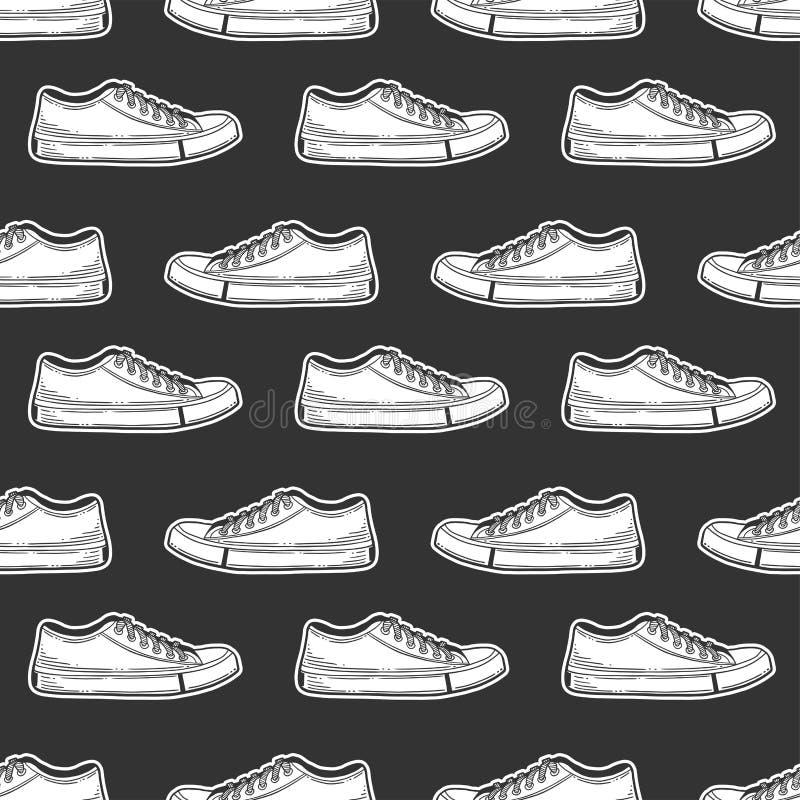 Sneakers buty Wektorowy pojęcie w doodle i nakreślenia stylu Wręcza patroszoną ilustrację dla drukować na koszulkach, pocztówki ilustracji