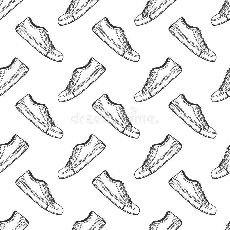 Sneakers buty Wektorowy pojęcie w doodle i nakreślenia stylu Wręcza patroszoną ilustrację dla drukować na koszulkach, pocztówki ilustracja wektor