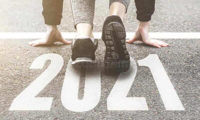 Sneakers close-up, finish 2020. Start to new year 2021 plans, goals, objectives stock photography