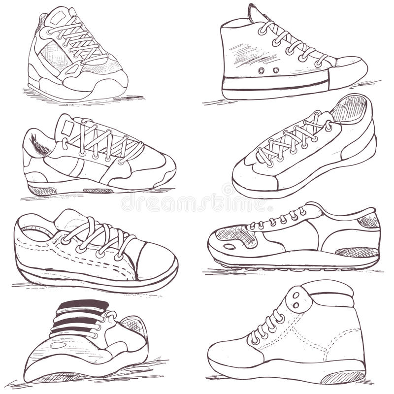 Sneakers collection. Collection of different sneakers, vector illustration image royalty free illustration