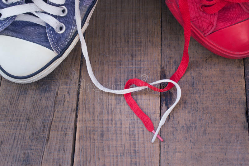 Sneakers feelings love communication lovers. royalty free stock photography