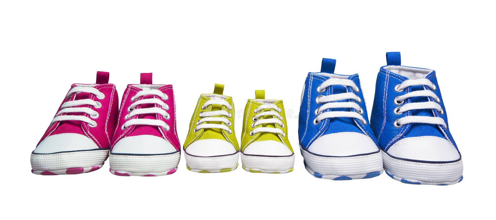 Sneakers Gumshoes, Baby Color Sport Shoes, Children Fashion Foot. Wear for Kids, white isolated with clipping path royalty free stock image
