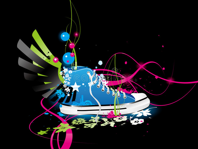 Sneakers, gym-shoes stock illustration