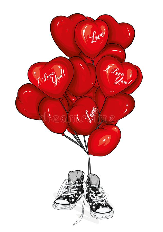 Sneakers with heart-shaped balloons. Footwear. Vector illustration for greeting card or poster. Love, friendship, Valentine`s Day. Sneakers with heart-shaped stock illustration