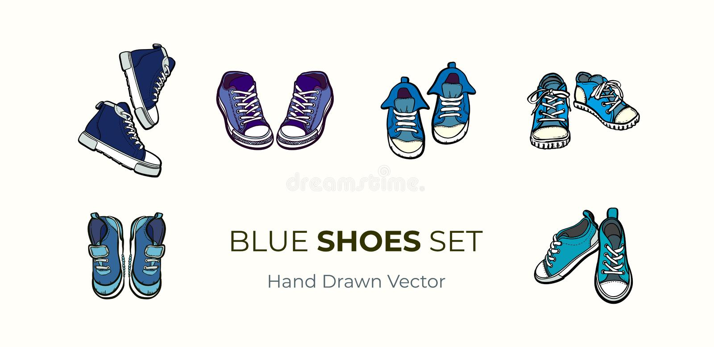 Sneakers kuj? pary odizolowywa? Wręcza patroszony wektorowy ilustracyjnego ustawiającego błękitni buty Sport?w buty wr?czaj? patr royalty ilustracja