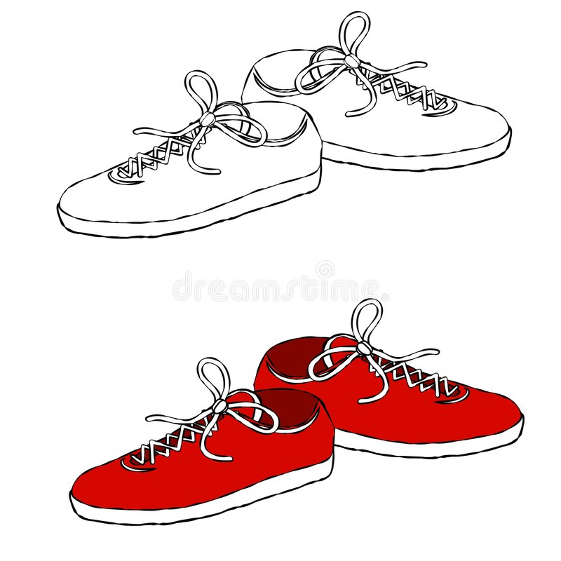 Sneakers Line Art. An illustration featuring your choice of sneakers in red or black and white - perfect for projects where color is not an option or undesired stock illustration