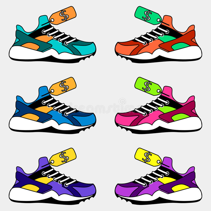 sneakers logo, the price of shoes royalty free illustration