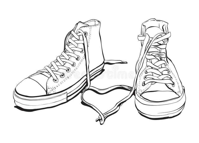 Download Sneakers With Lovely Heart stock vector. Image of casual - 25582325