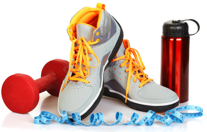 Sneakers. New sneakers isolated on white background. Sport and fitness royalty free stock images