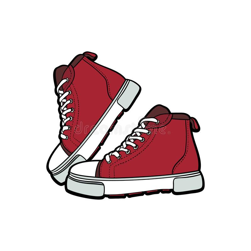 Sneakers shoes pair isolated. Hand drawn vector illustration of red shoes. Sport boots hand drawn for logo, poster, postcard stock photo