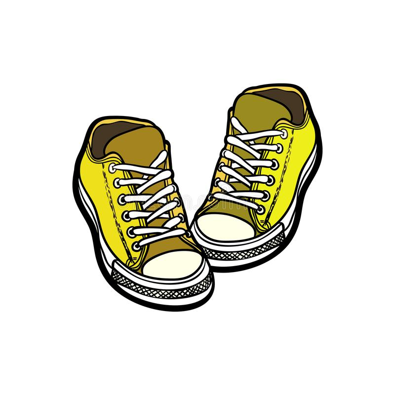 Sneakers shoes pair isolated. Hand drawn vector illustration of yellow shoes. Sport boots hand drawn for logo, poster, postcard stock photo