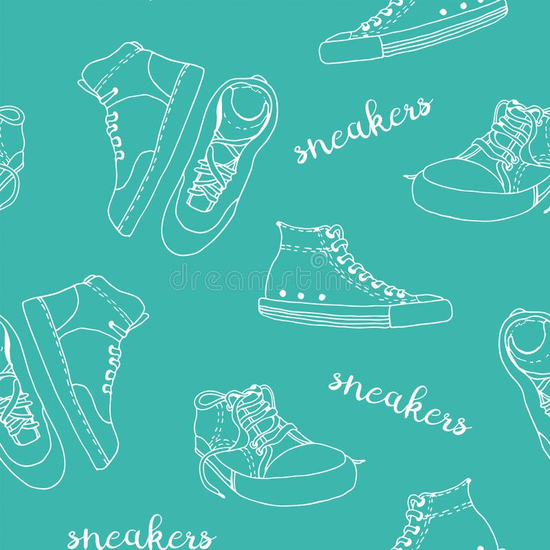Sneakers sketch vector pattern. Active shoes seamless background stock photos