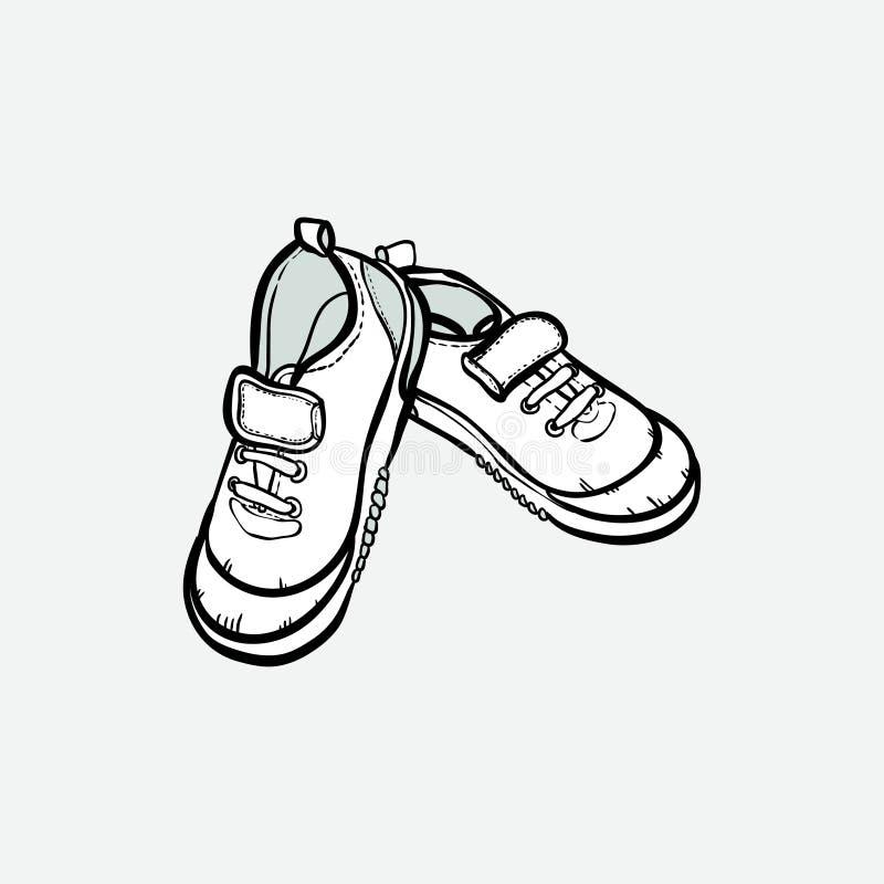Sneakers but?w para odizolowywaj?ca R?ka rysuj?cy wektorowi ilustracyjni czarny i bia?y buty Sport?w buty wr?czaj? patroszonego d ilustracji