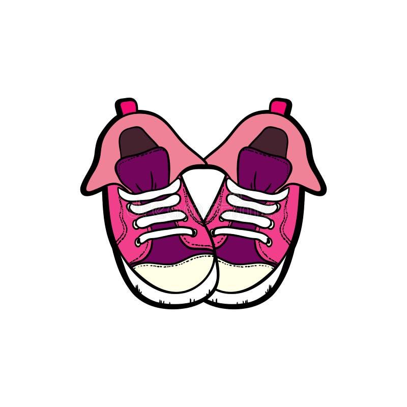 Sneakers but?w para odizolowywaj?ca R?ka rysuj?ca wektorowa ilustracja r??owi buty Sport?w buty wr?czaj? patroszonego dla logo, p royalty ilustracja