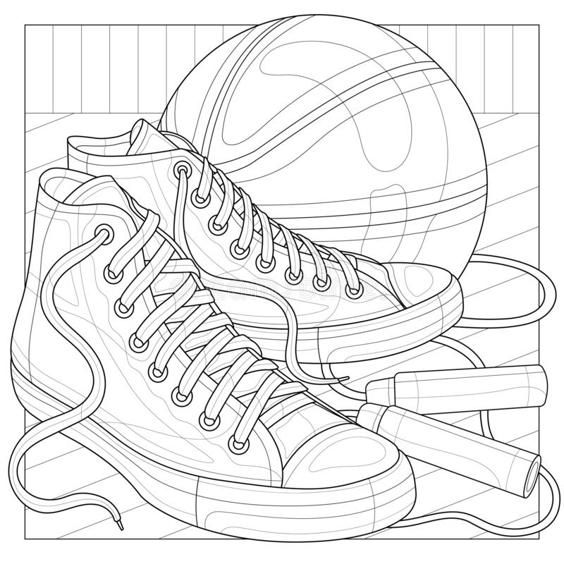 Free Sneakers With A Basketball And A Jump Rope.Coloring Book Antistress For Children And Adults Stock Photo - 208909250