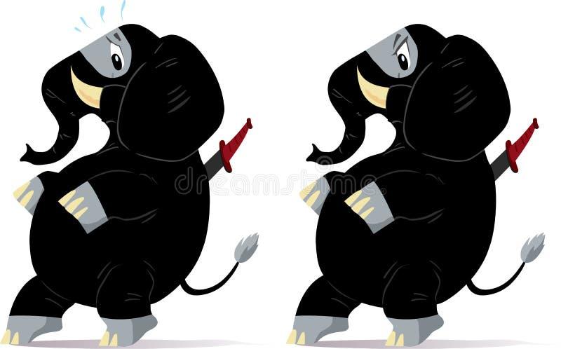 Sneaking, nervous ninja Elephant. royalty free illustration