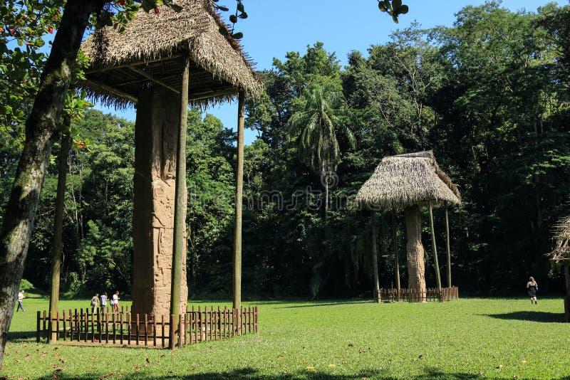 Sned Mayan stenar, Quirigua fördärvar, Guatemala fotografering för bildbyråer