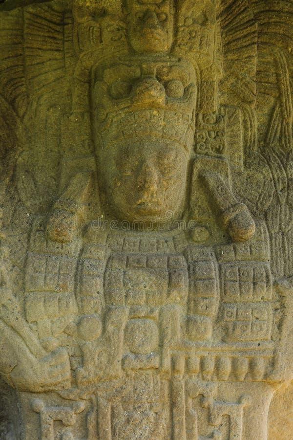 Sned Mayan stenar, Quirigua fördärvar, Guatemala royaltyfri fotografi