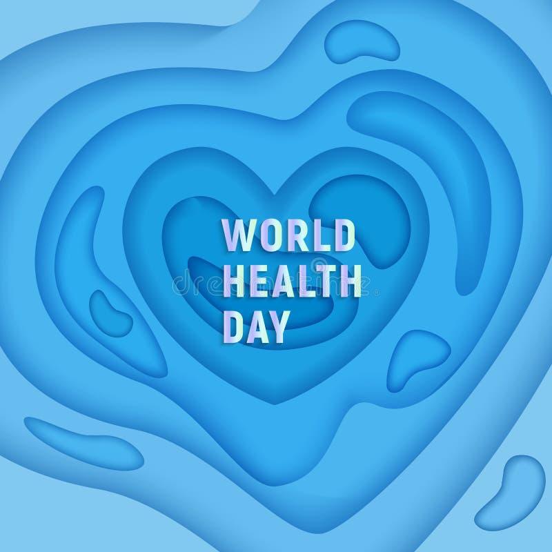 Sneed de de dag medische banner van de wereldgezondheid op 3D abstracte achtergrond met blauw document vormen stock illustratie