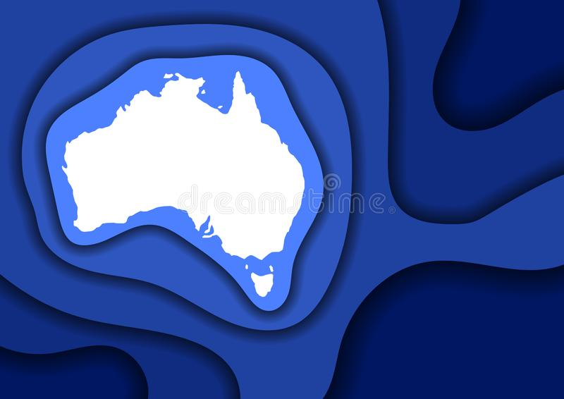 Sneed het de kaart abstracte schema van Australi? van blauw lagendocument 3D golven en schaduwen over andere Lay-out voor banner, stock illustratie