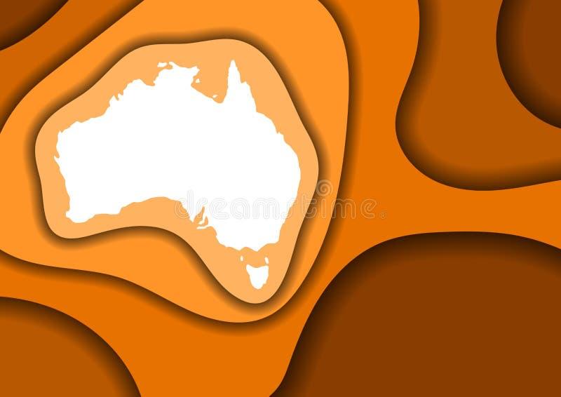 Sneed het de kaart abstracte schema van Australi? van oranje lagendocument 3D golven en schaduwen over andere Lay-out voor banner stock illustratie