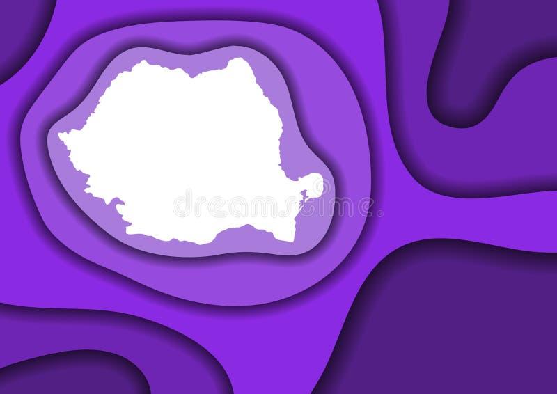 Sneed het de kaart abstracte schema van Roemenië van violet lagendocument 3D golven en schaduwen over andere Lay-out voor banner, vector illustratie