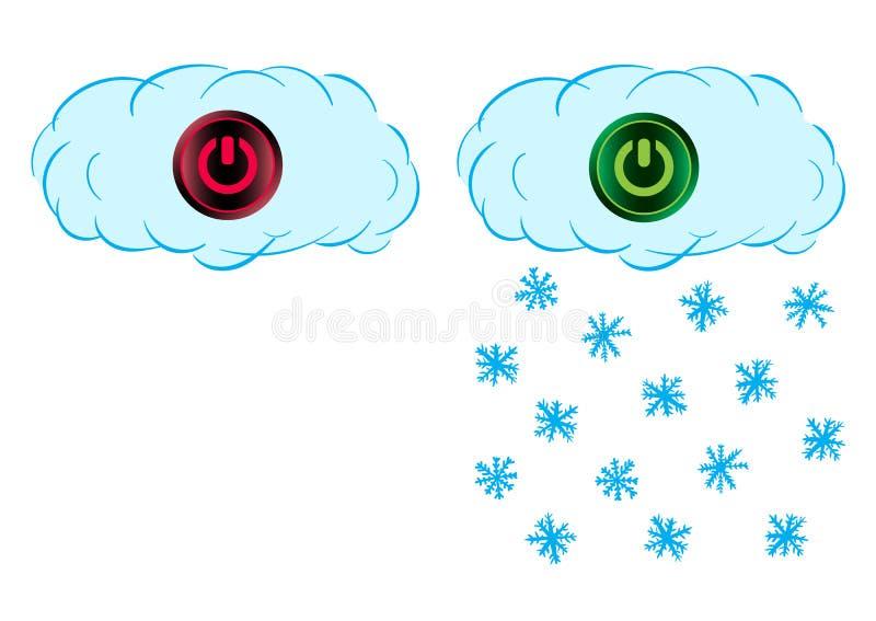 Sneeuw aan en uit wolk royalty-vrije illustratie