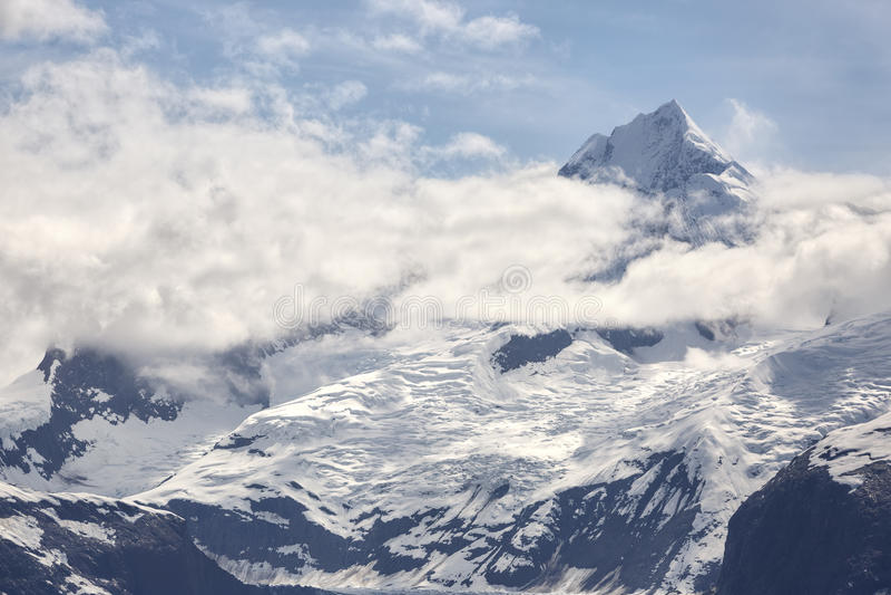 Sneeuw afgedekte berg in het Nationale Park van de Gletsjerbaai stock afbeelding