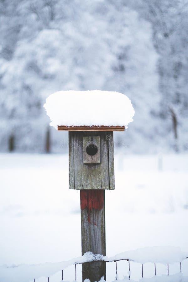 Sneeuw Behandeld Vogelhuis in de Winter - Sneeuwlandschap stock foto's
