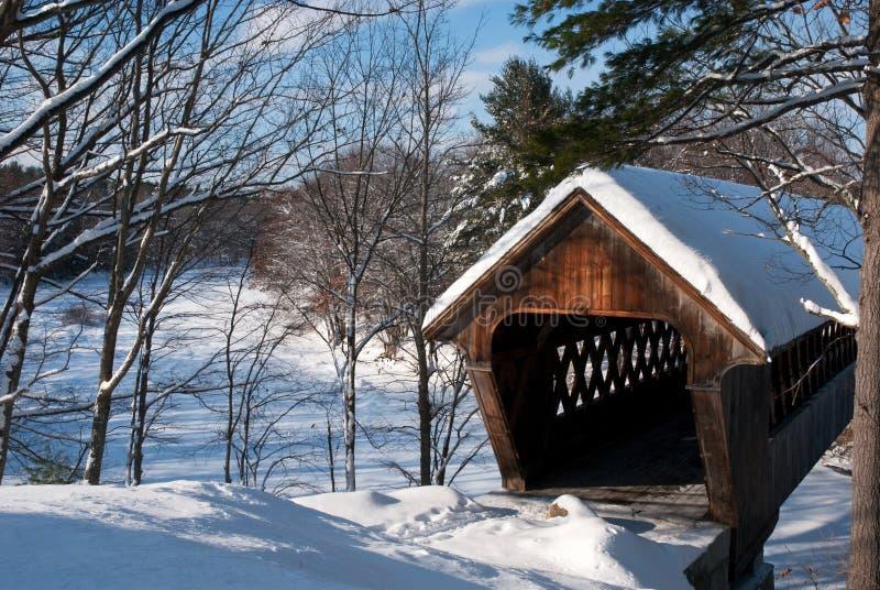 Sneeuw Behandelde Brug in New England royalty-vrije stock afbeelding